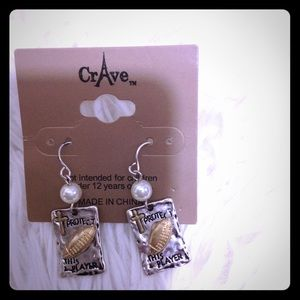 BRAND NEW Football/prayer dangling earrings